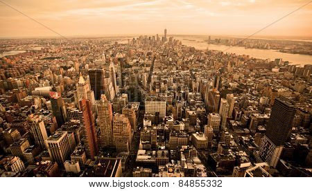 New York city skyline with orange filter