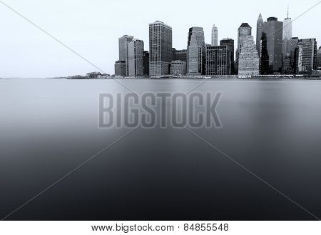 New York lower Manhattan skyline long exposure