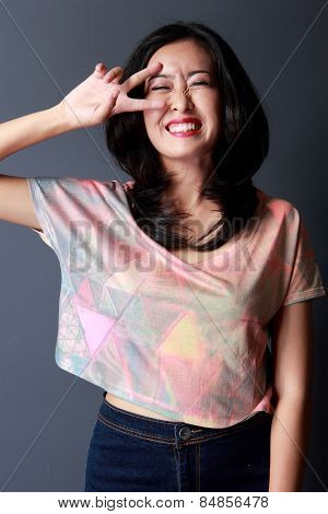 Cheerful Lovely Woman Studio Shot