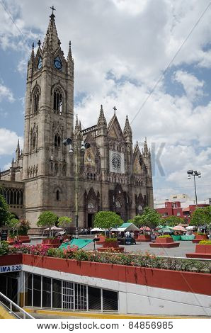 GUADALAJARA, MEXICO- FEBRUARY 12, 2016: The Expiatorio, Temple of the Blessed Sacrament. The church is built mostly with cut stone without iron or concrete infrastructure as working in the Middle Ages, and is therefore authentic forms mainly Gothic arches