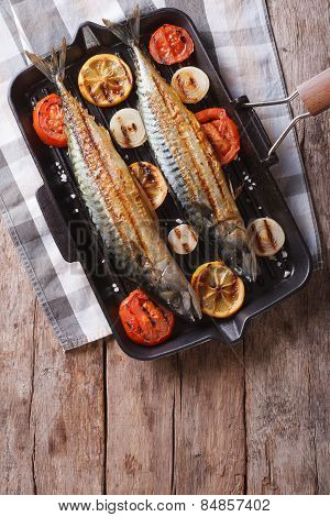 Mackerel Fish And Vegetables In A Pan Grill. Vertical Top View