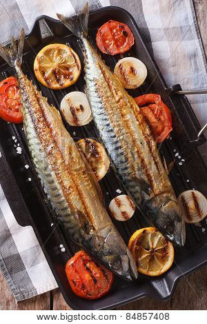 Grilled Mackerel Fish And Vegetables Closeup. Vertical Top View