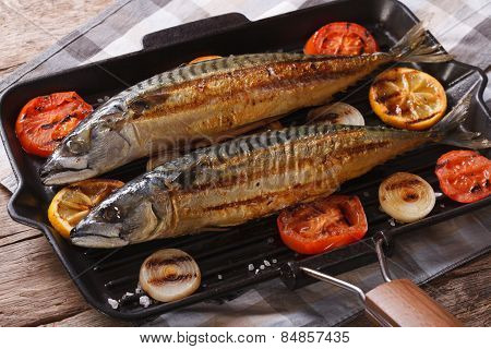 Grilled Sea Fish And Vegetables In A Pan Grill, Horizontal