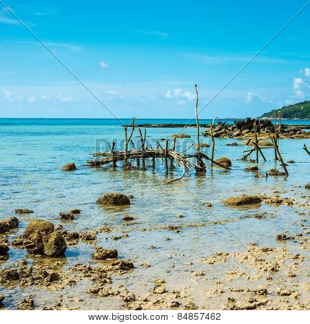 Beautiful Exotic Beach In Thailand With Fishing Gear At Low Tide