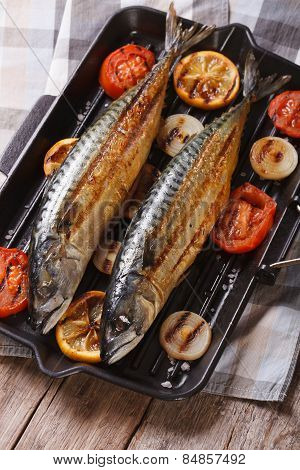 Grilled Sea Fish And Vegetables In A Pan Grill, Vertical Top View