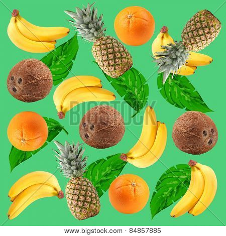 Tropical background with oranges, coconuts, pineapples, bananas and green palm leaves