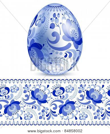 Beautiful easter egg with pattern in Russian style gzhel.