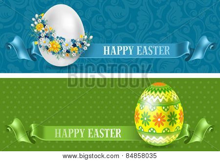 Set of two beautiful horizontal Easter flyers. Vector illustration.