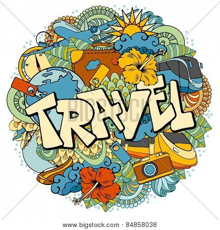 Travel background with doodles elements. Vector illustration.