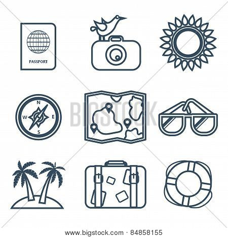 Icons of travel, summer in the flat line style
