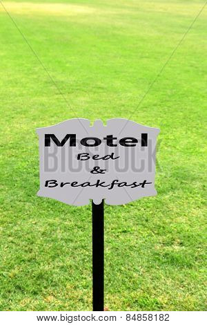 Signboard with text Motel, Bed and Breakfast