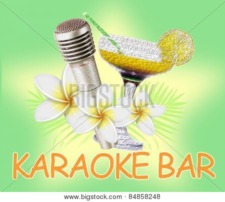 Microphone and cocktail on bright color background, Karaoke bar concept