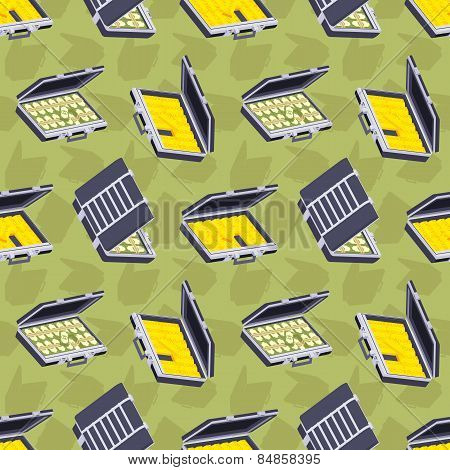 Seamless pattern with the open briefcases