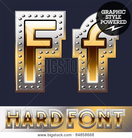 Vector set of bold luxury font in gold color with riveted border. Letter F