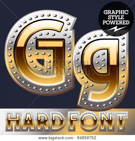 Vector set of bold luxury font in gold color with riveted border. Letter G