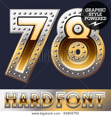 Vector set of bold luxury font in gold color with riveted border. Numbers 7 8