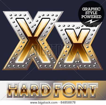 Vector set of bold luxury font in gold color with riveted border. Letter X
