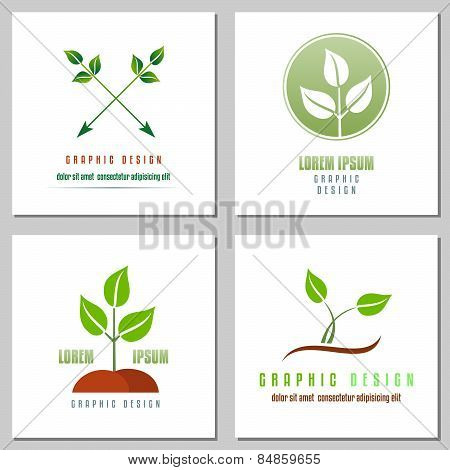 Collection Of Emblems With Green Leaf