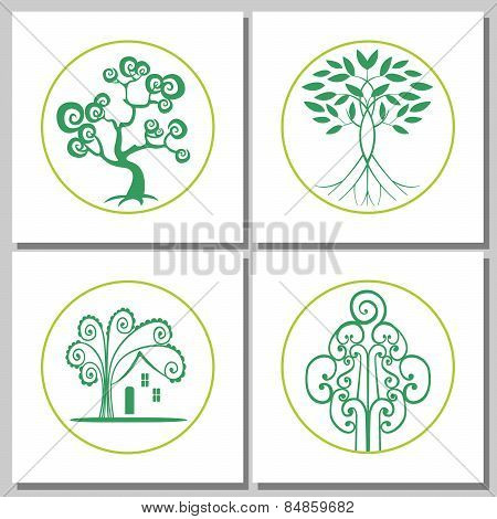 Collection Of Emblems With Abstract Green Trees