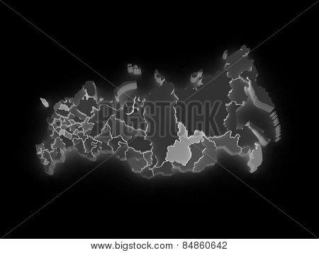 Three-dimensional map of Russia. 3d