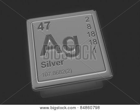 Silver. Chemical element. 3d