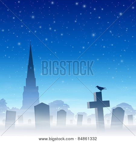 Misty Graveyard, Cemetery with Tombstones and Church Spire and Night Sky. Vector EPS 10.