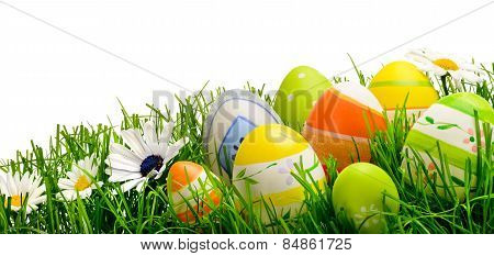 Easter Eggs And Flowers In Grass, Isolated