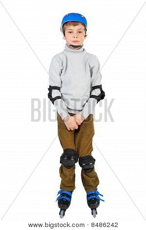 Little Boy With With Crossed Hands In Blue Helmet Rollerblading Isolated On White