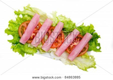 Ham salad on top