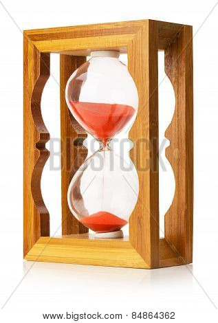 Wooden Sand Clock Isolated On The White Background