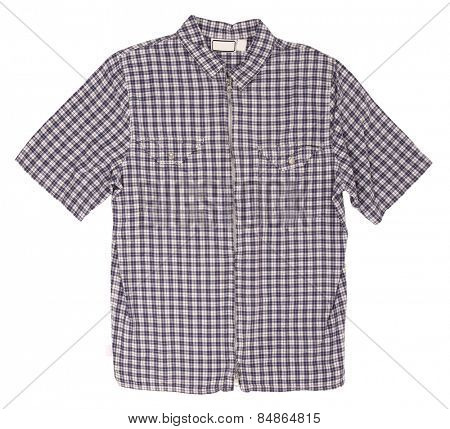 Man's blue cotton plaid shirt with zipper
