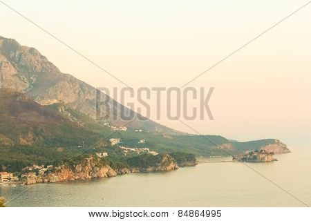 The landscape Adriatic coast of Bar, Montenegro.