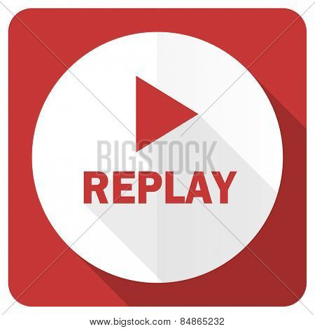 replay red flat icon
