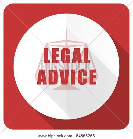 legal advice red flat icon law sign