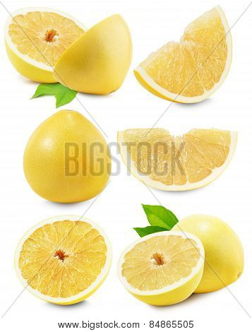 Set Of Pomelo Or Chinese Grapefruit Isolated On The White Background