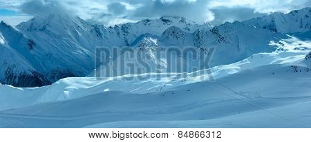 Silvretta Alps Winter View (austria). Panorama.