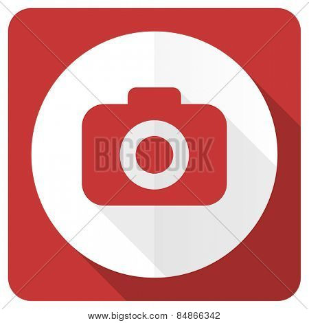 photo camera red flat icon photography sign