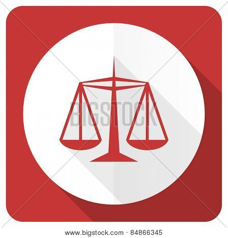 justice red flat icon law sign