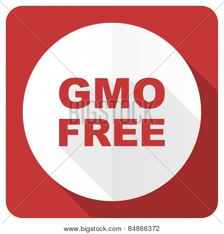 gmo free red flat icon no gmo sign