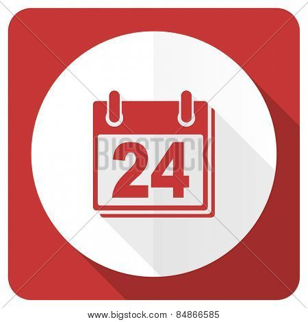 calendar red flat icon organizer sign agenda symbol