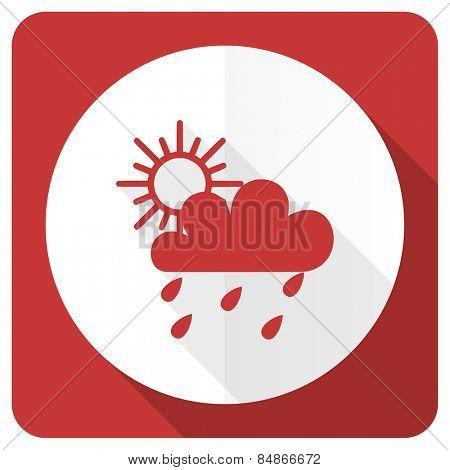 rain red flat icon waether forecast sign