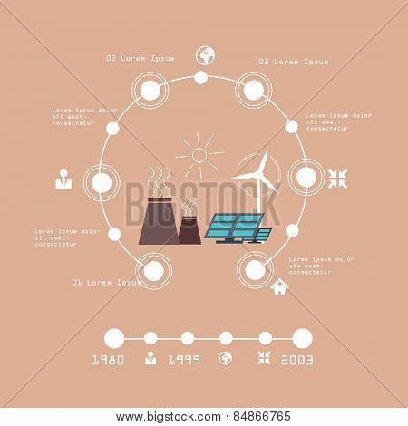 Ecology Concept Vector illustration for Environment, Green Energy and Nature Pollution Designs. Nuclear Power Plant and Deforestation. Flat Style.