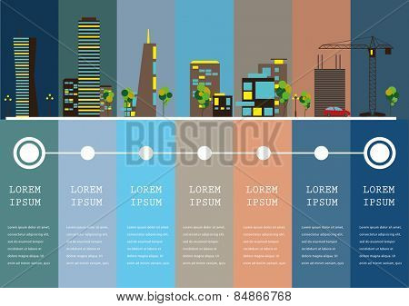 City info-graphic illustration with colorful icons of buildings