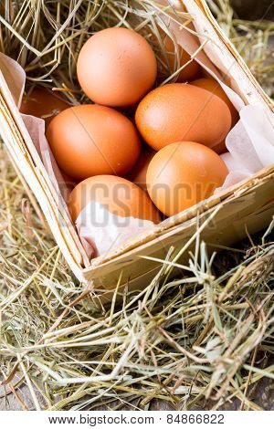 Raw organic eggs