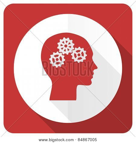 head red flat icon human head sign