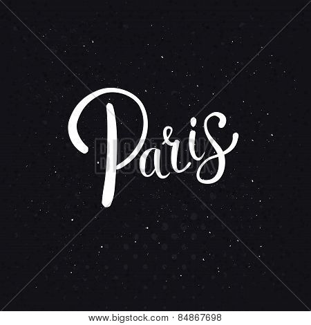 White Paris Text on an Abstract Black Background