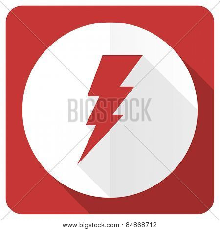 bolt red flat icon flash sign