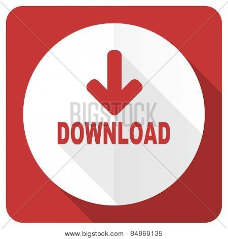 download red flat icon