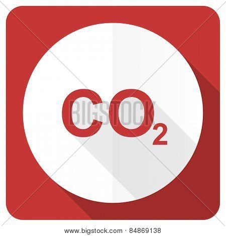 carbon dioxide red flat icon co2 sign