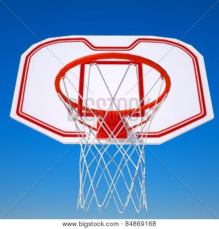 Basketball hoop isolated on blue sky